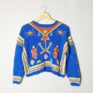 Boho knit sweater. Funky 80s style